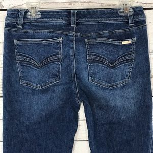 WHBM Jeans Bootleg Embroidered Whiskered Stretch
